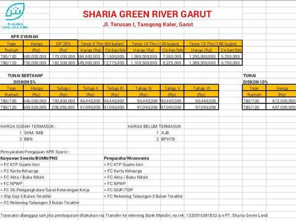 pricelist sharia green river garut