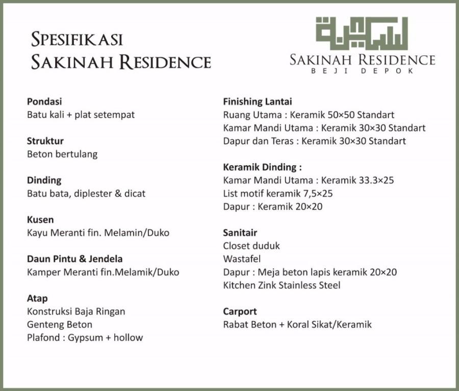 Spesifikasi Sakinah Residence