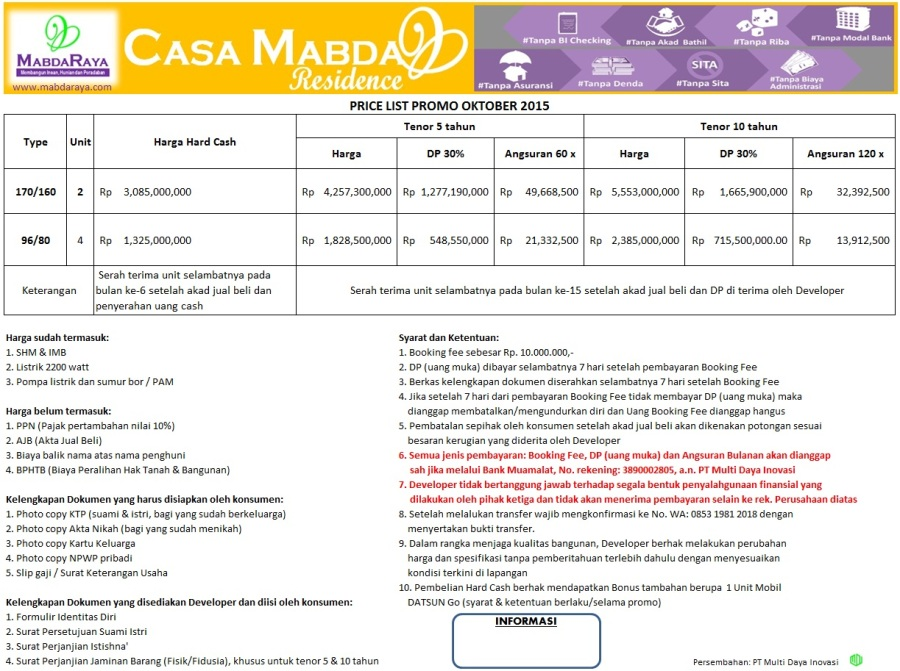 Harga Casa Mabda Residence