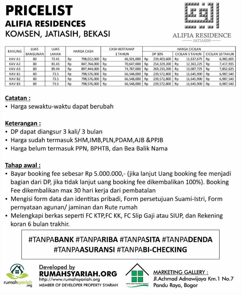 Pricelist Alifia Residence Jatiasih