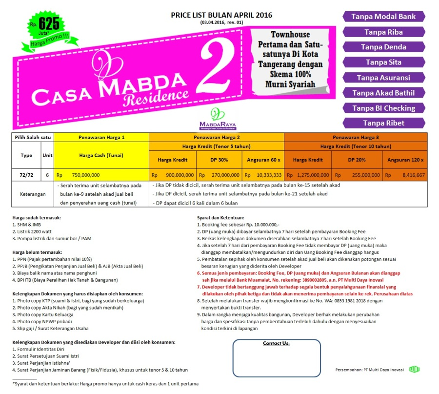 Pricelist Casa Mabda 2 - Tangerang