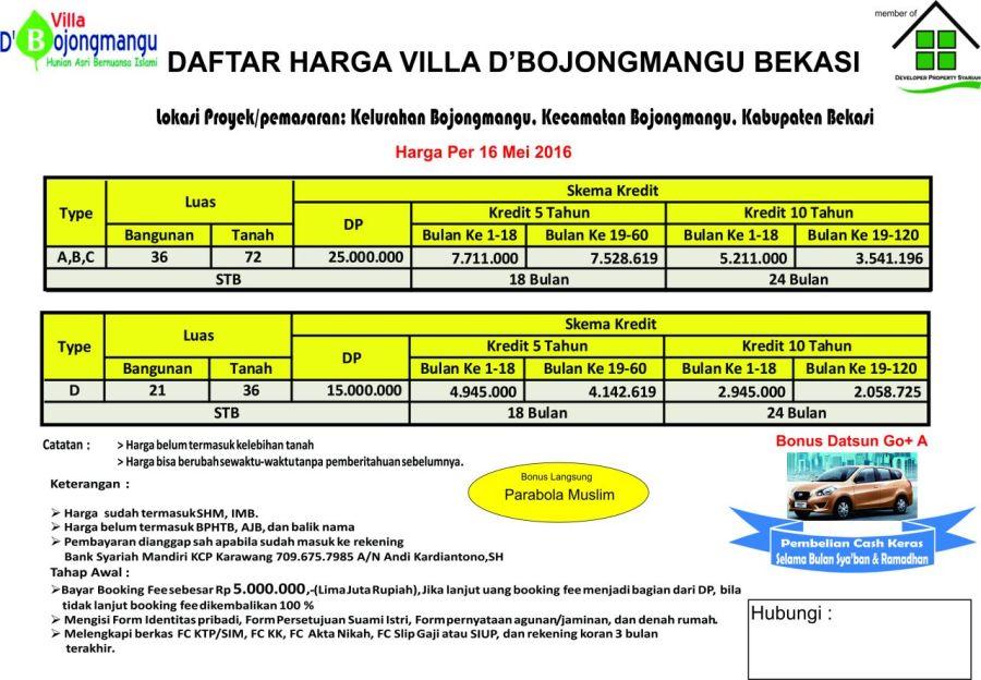 Pricelist Villa D'Bojongmangu - Bekasi