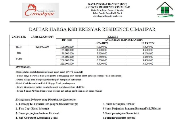 Kresyar Residence Cimahpar Bogor - Pricelist