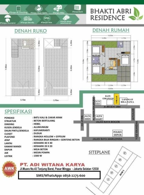 Denah dan Spesifikasi Bhakti ABRI Residence - Tapos Depok