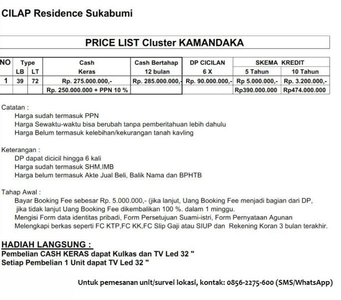 Pricelist Cilap Residence Sukabumi