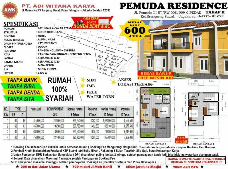 Pricelist - Pemuda Residence Jagakarsa Jakarta Selatan