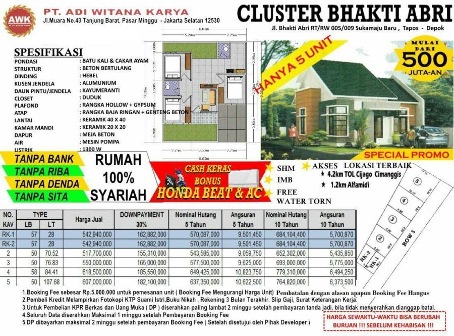 Pricelist Bhakti ABRI Residence