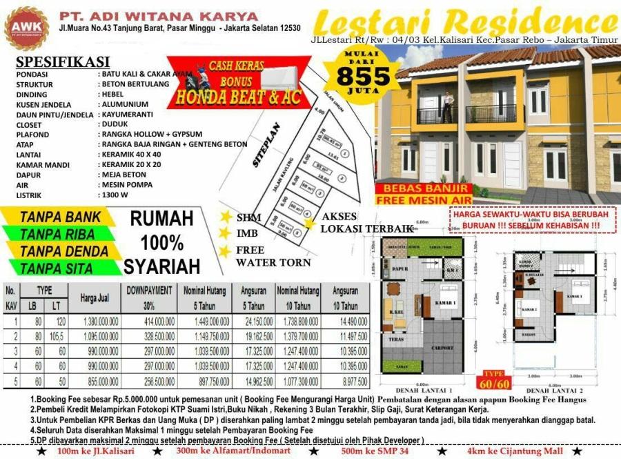Pricelist Lestari Residence - Jakarta Timur