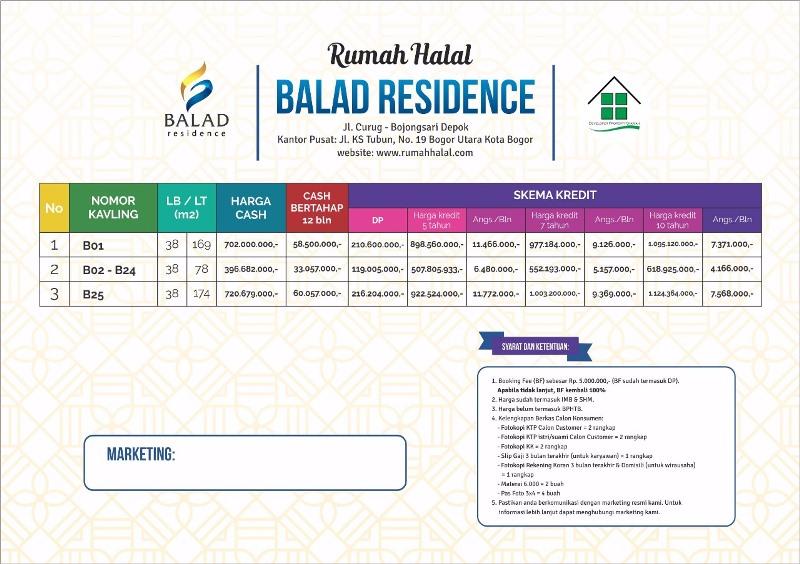 Harga Balad Residence Bojongsari Depok