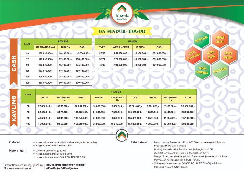 Islamic Green Park - Pricelist Cash