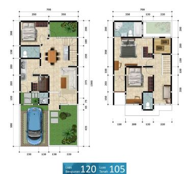 Petukangan Townhouse - Denah Tipe 120-105
