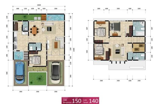 Petukangan Townhouse - Denah Tipe 150-140