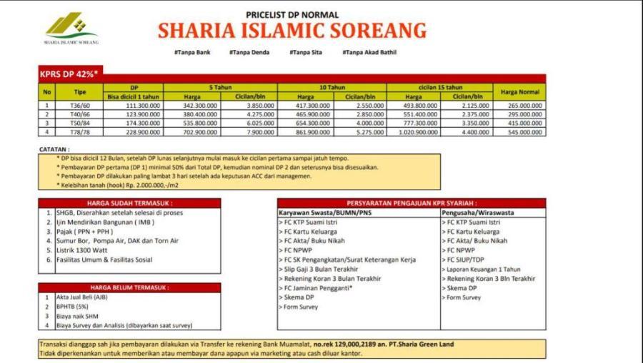 sharia islamic soreang | daftar harga kpr