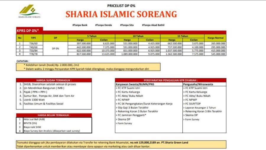 sharia islamic soreang | daftar harga rumah